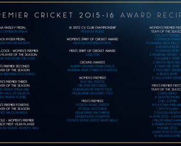 Premier Cricket Awards winners