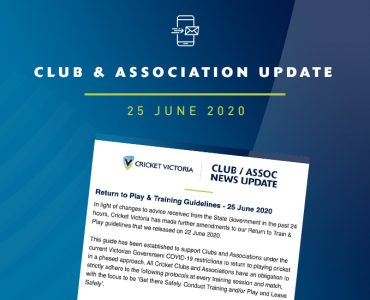 Club & Association News Update – 25 June 2020