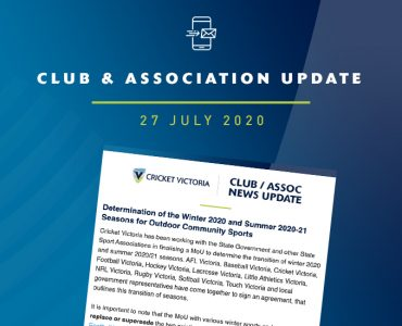 Club & Association News Update – 27 July 2020