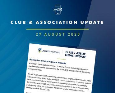 Club & Association News Update – 27 August 2020