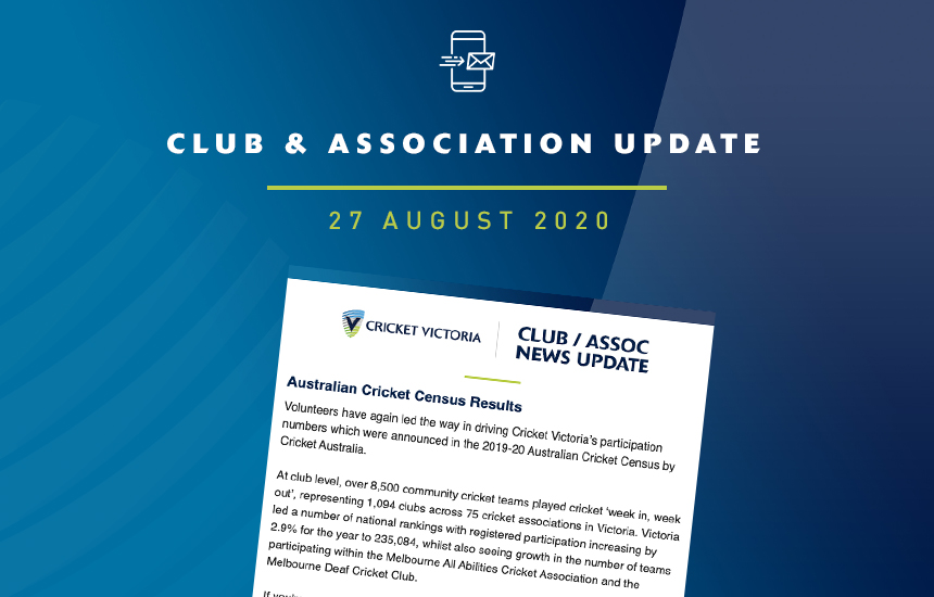 Club & Association News Update – 27 August 2020