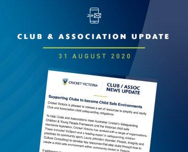 Club & Association News Update – 31 August 2020