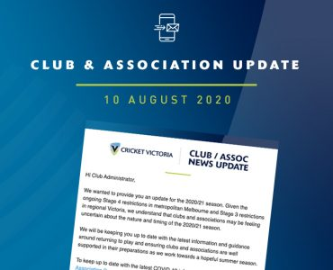 Club & Association News Update – National Club Risk Protection Programme – 10 August 2020