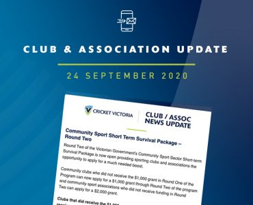Club & Association News Update – 24 September 2020