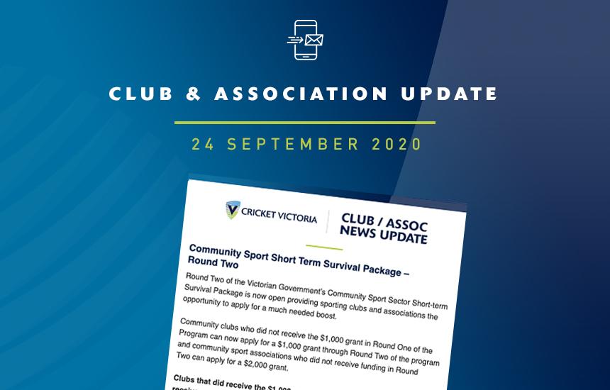 Club & Association News Update – 24 September 2020