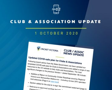 Club & Association News Update – 1 October 2020