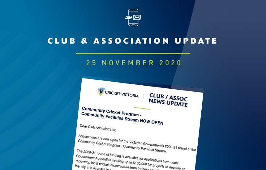 Club & Association News Update - 25 November 2020